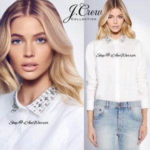 J. Crew Collection jeweled collar button down top